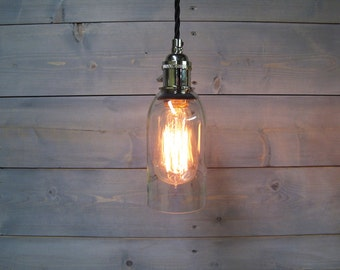 Wine Bottle Pendant Light - Large Clear - Upcycled Industrial Glass Ceiling Light