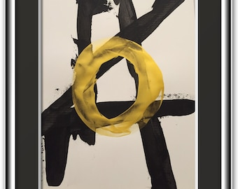 New style, Minimal abstract art original in black and gold 18x24 inches in heavy art paper titled GOLD THAT GLITTERS