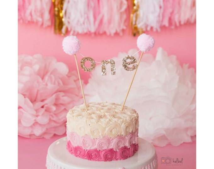 "Pink and Gold ""ONE"" CAKE Banner 