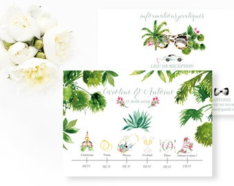 Palm Springs Wedding timeline - Cactus Wedding Timeline - Palm Trees Illustrated Program Timeline - Wedding program - Palm Springs wedding