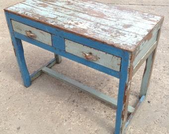 Vintage Indian Blue Wooden Kitchen Table