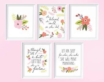 Inspirational Girls Nursery Set Print, Inspirational Nursery Decor, Nursery Prints, Quotes for Girls Printable,