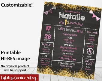 Pink and gold birthday chalkboard - 1st Birthday Chalkboard - Birthday chalkboard - First Birthday gold Chalkboard Sign - gold chalkboard