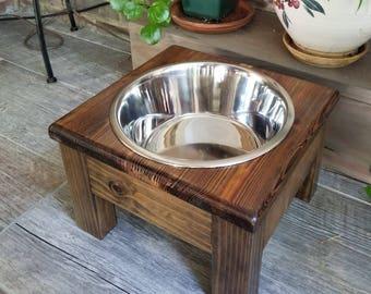 Medium Elevated Dog Bowl, Elevated Pet Feeder, 1 Bowl Feeder, Wood, One Bowl Dog Feeder,Personalized Dog Feeder,Pet Feeder,Raised Dog Feeder