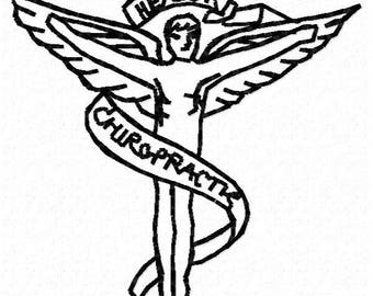 Chiropractic Embroidery Design - Instant Download