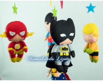 Super Heroes-League of Justice-Marvel-Movil Crib-Babies-Maternity-Birth-Baby Shower-Birthday-Gift-Children-Girls-Mobile Super Heroes