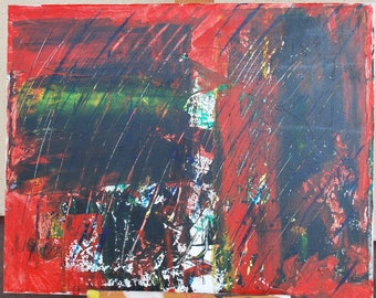 "Acrylic Painting ""HACKED"" 20X16 Inches One Of A kind Hand Made in USA Red Black White Green Abstract Modern Art"