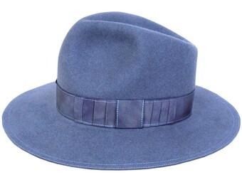 Gray Felt Hat Wide Brimmed Hat Men's Fedora Hat Fall Hat Tie Dyed Open Crown 1940s Men's Hat