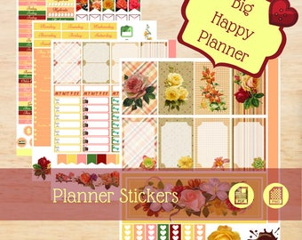 Vintage Garden Stickers, Big Happy Planner Stickers, Happy Planner Stickers, Rose Stickers,