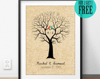 Personalized Wedding Gift, Couple Sign, Love Tree, Anniversary Gift, Newlywed Gift, Engagement Gift, Rustic Home Decor, Burlap Print, CM16