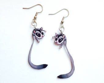 Handcrafted Plastic Sugarglider Sugar Glider Earrings SO CUTE
