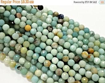 25% OFF 8mm Amazonite Faceted Round Full strand Gemstone Beads Ocea Blue Gemstone Beads - 48 Beads-  SAMZ100
