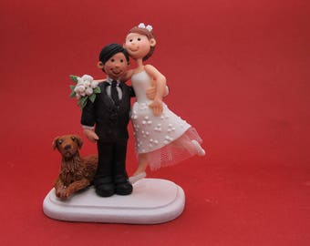 Personalised Wedding Cake Topper  with Pet Dog. Wedding keepsake. The bride and groom.  Cake topper.Cake decoration. Party Supplies.