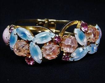 Juliana Rhinestone Clamper / Moonstone Art Glass Hinged Bracelet / Cuff / DeLizza Elster