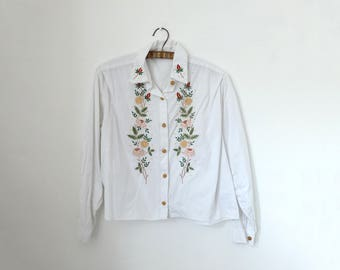 1960s vintage white shirt top with gold lurex and multicolour embroidered flower print - Small / Medium - Sixties Mod Preppy