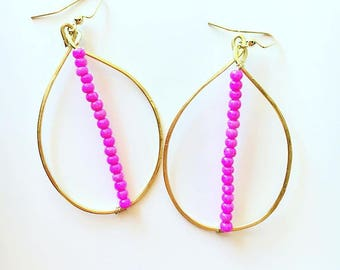 Hot pink seed beads