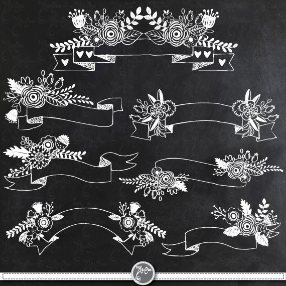 "Flower Wall Decor Reversible Mosaic With Chalkboard: Chalkboard Floral Banners Clipart Pack ""CHALKBOARD FLOWER"