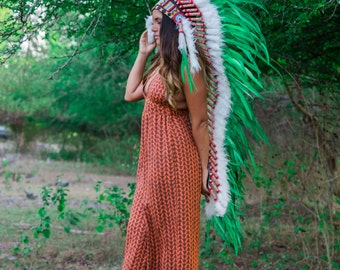 The Original - Real Feather Green Chief Indian Headdress Replica 135cm, Native American Style Costume Hand Made War Bonnet Hat
