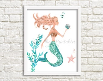 Sparkling Mermaid, Mermaid Prints, Girls Room Decor, Instant Download, Glitter, Modern, Watercolor Print, Under the sea, Nursery Wall art