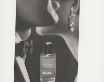 1967 Half Page Chanel A Gentleman's Cologne Advertisement Small 60s Mens Fragrance Scent Wall Art Decor