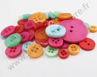 Decorative button - FUCHSIA green ORANGE - x50pcs