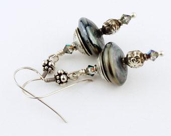 Lampwork  Earrings - Sterling Silver - Metallic Black  Beaded Jewelry 'Evening City'