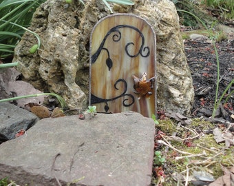 Fairy Door, Wispy Brown Stained Glass, Garden Sculpture, Hand Painted, Fae Door, Fairy House, Portal, Farie Garden, Home Decor, Faerie