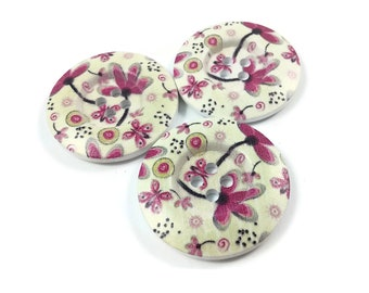 1.5 inch buttons - Spring pink flowers wooden sewing buttons - set of 3