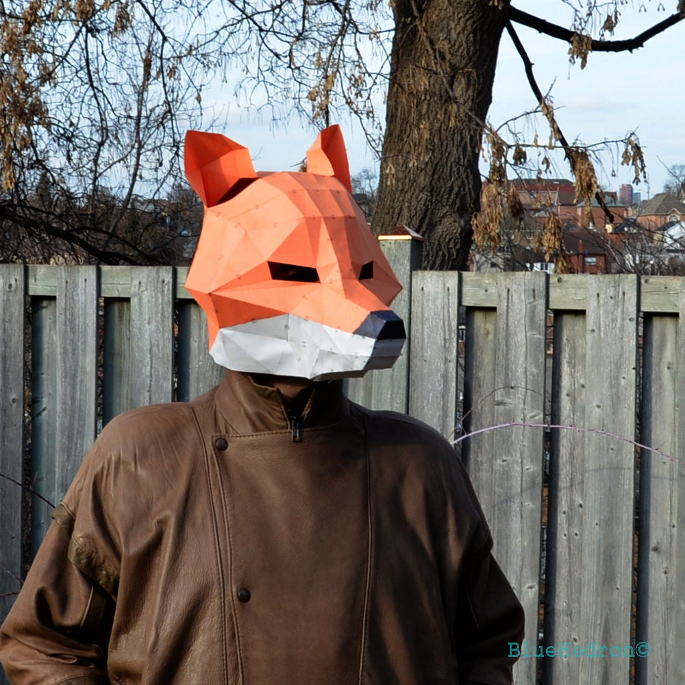 Fox mask papercraft diy animal awesome paper party mask you zoom jeuxipadfo Image collections