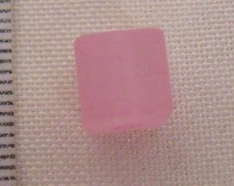acrylic beads, set of 5 pale opaque pale pink square beads 8mm, opaque beads