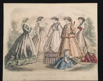 1867 Antique Victorian Fashion Print, Original Hand Colored Engraving from Godey's Fashions, Vintage Print for Framing