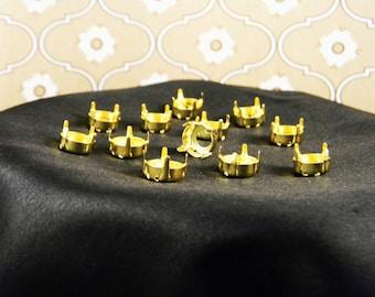 12 Gold Plated 50ss/12mm Rivoli Round Settings