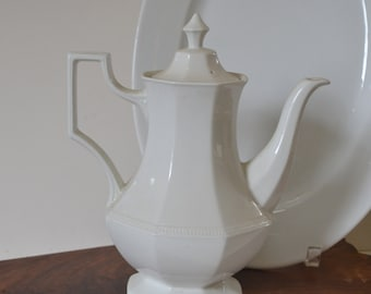 Vintage Johnson Brothers white ironstone coffee pot. Made in England.
