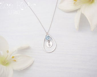 Personalised birthstone initial silver teardrop necklace. Birthstone and initial necklace.