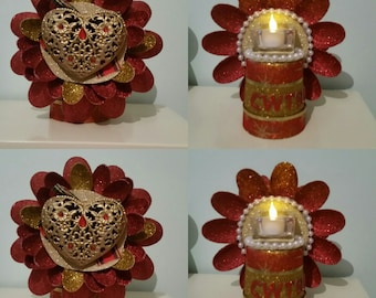 Unique glittered flower candleholder