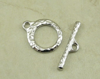 1 TierraCast Craftsman Toggle Clasp > Makers Hammered Distressed - Rhodium Silver Plated Lead Free Pewter - I ship Internationally 6205