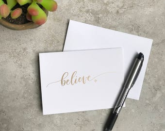 Believe Greeting Card Set - Dream - Believe - Inspire - Motivational Card Set