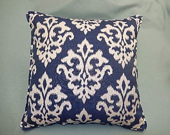 Cadet Blue Pillow - Blue, White - Decorative, Couch, Living Room, Bed Pillow