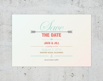 Nautical Wedding Save the Date | Printable DIY | Color Customizable