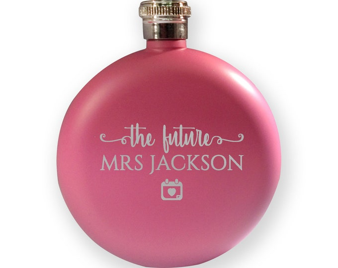 Engraved HEN BACHELORETTE hip flask gift, bride to be present, the future Mrs - 5PK-HEN4