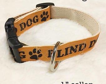 "Dog Collar 1"" Blind Special Needs Custom"