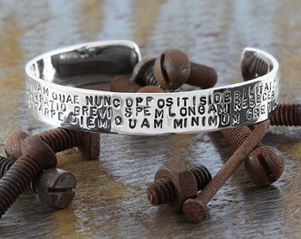 Personalize Silver Cuff Mens 925 Sterling Stamped Bracelet Bangle