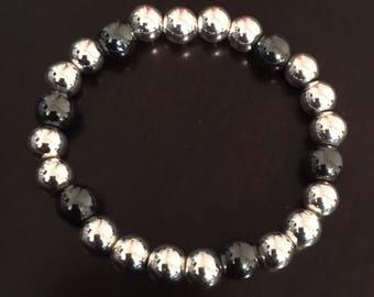 8mm silver and dark pewter bracelet