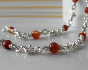 Agate Bracelet, Sterling Silver Knot Links, Handmade Chain, Organic Bracelets Red Orange Wrapped Agates, Rustic Silver Knots, Chain Bracelet