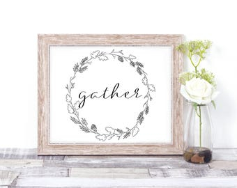 Gather Sign // Painting // Fall // Autumn // Printables