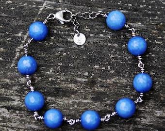 Periwinkle sterling silver bracelet / agate beaded bracelet / gift for her / sterling bracelet / layer bracelet / bracelet / jewelry sale