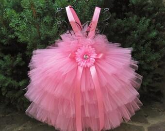 PINK RUFFLES - Tiered Pink Tutu Dress - Flower Girl Gown - Pageant Girl Outfit - First Birthday Tutu - Baptism - Girls' Pink Tutu Dress -