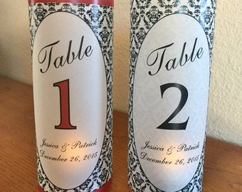 10 Personalized Wedding Luminaries- Table Numbers- DAMASK