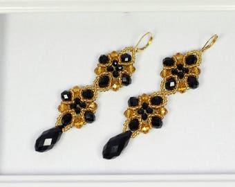 Black crystal earrings, Black teardrop earrings, Crystal teardrop earrings, Golden crystal earrings, Beaded crystal earrings