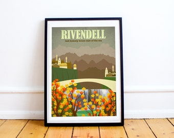 Rivendell - Lord of the Rings - The Hobbit - Travel Poster Style Art Print - Lord of the Rings Poster - Retro - Wall Art - Home Decor